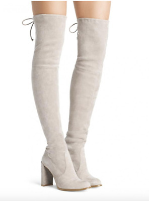 fdea41bfd52 New  798 Stuart Weitzman Hiline Thigh High Over Knee Otk Suede Boot 9 Perla  Grey