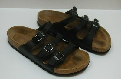 1c7bbdc380d BIRKENSTOCK Florida black leather 3 straps sandals slides Women s Size 38  US 7
