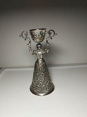 Vintage silver plated & Gold wash double German Wedding  Cup