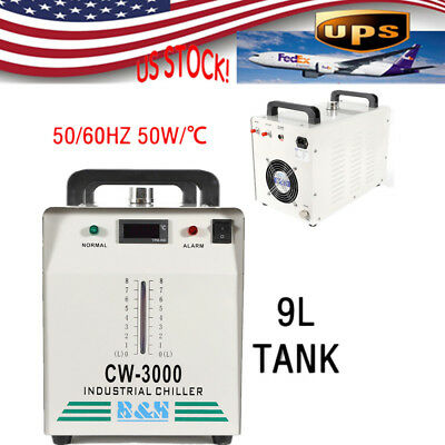 9L CW-3000 Industrial Water Chiller 50W/℃ For 60/80W CO2 Glass Laser Tube