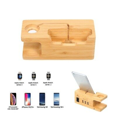 Phone Wooden Charging Dock Station 3 USB Ports Charger for iPhone iWatch G4H3