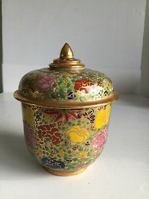 Antique Thai Benjarong Hand Painted With Flower  Pattern