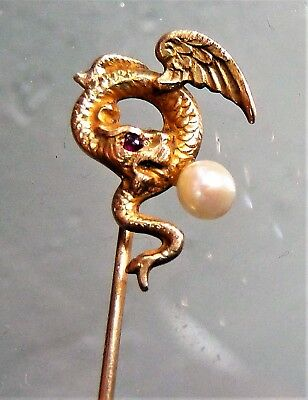 Gorgeous Rare Antique 10K Yg 3-D Winged Dragon Griffin Ruby Pearl Stick Pin!