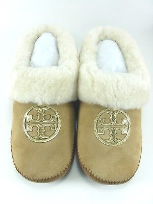 edbe1425740b NEW TORY BURCH Coley Split Suede Slipper in Royal Tan Gold Size 8