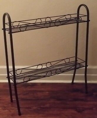 Vintage Shelf Unit Wrought Iron Wire Mesh Mid Century Modern 1960's Plant Stand