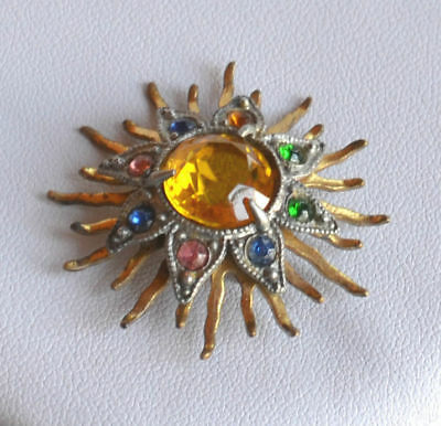 Antique Victorian 3D Starburst Brass BROOCH PIN multicolor rhinestone vintage