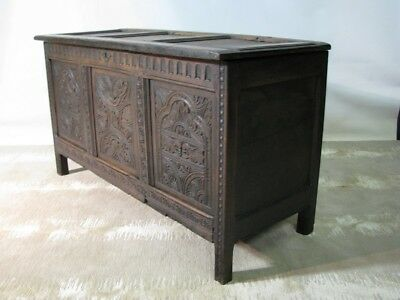 18th Century English Dark Oak Coffer/Trunk/Mule Chest; Heavily Carved Panels