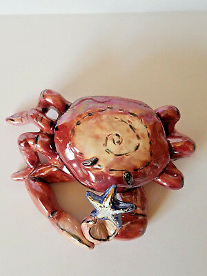 Blue Sky Crab Tealight Holder by Heather Goldminc retired clayworks