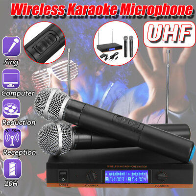 UHF Wireless Microphone System Handheld 2 Cordless MIC Receiver Karaoke Stage