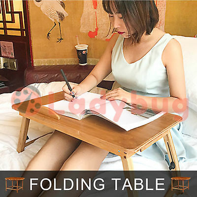 Foldable Multi Function Bamboo Laptop Bed Desk Cooling Holder Table Stand