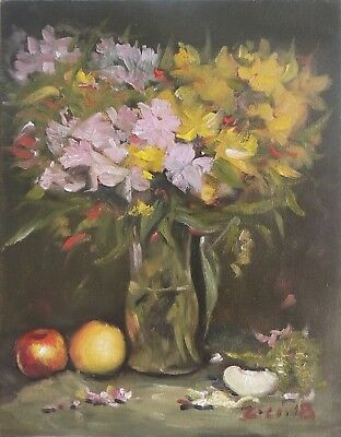 Original Oil Painting Still Life Realism Glass Vase w Flowers by Z.Li 11x14""