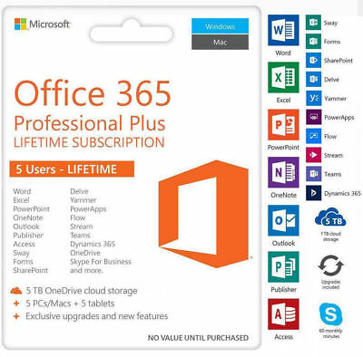 Microsoft 365 Office Professional Plus word excel 2016 Windows PC 5 Devices