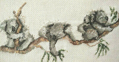 Completed Koala Family & Baby in Gum Tree  Vintage Hand Cross-stitch Panel