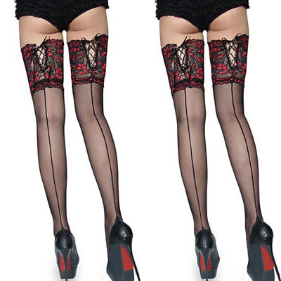 Fashion Women Ladies Tights Lace Top Stay Up Thigh High Stockings Pantyhose