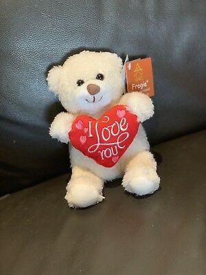 *** BRAND NEW Small I Love You heart white teddy bear with tags ***