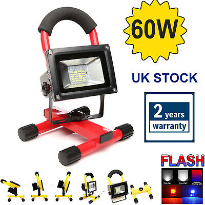 60W COB LED Rechargeable Cordless  Portable Work Site Flood Light Camping White