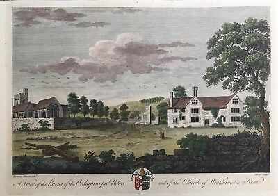 1780 Antique Large Print: Wrotham Church & Palace, Kent after Eleanora Johnson