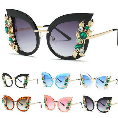 Retro Big Oversize Women Cat Eye Sunglasses Glasses W/Bling Rhinestone UV400