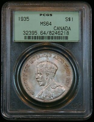 1935 Silver $1 Canada Dollar PCGS (Green Label) MS64