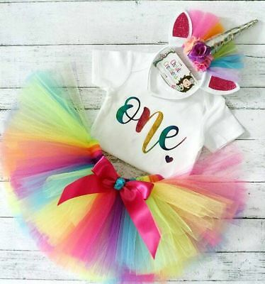 AU Toddler Baby Girl 1st Birthday Romper Tops Tulle Skirt Tutu Dress Outfits Set