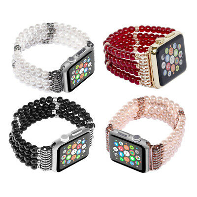 For Apple Watch Bling Pearl Beads Strap Bracelet Band For iWatch 4/3/2/1 42/38mm