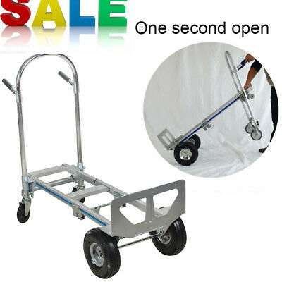Hand Truck Moving Dolly 2-in-1 Convertible 4-Wheel Platform Steel Cart  New
