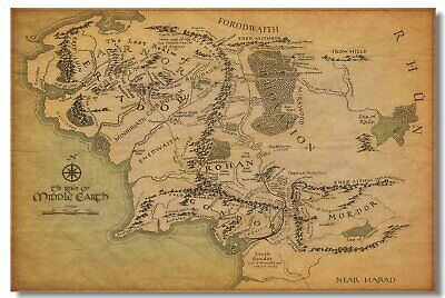 Map Of Middle Earth The Lord Of The Rings Art Wall Cloth Poster