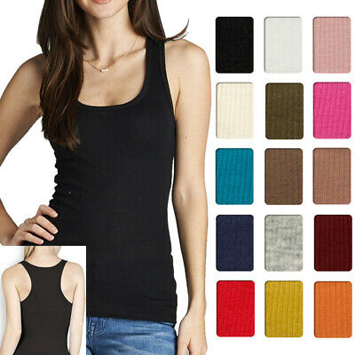 f19a88abe2932 Women Cotton Ribbed RACERBACK TANK TOP Fitness Sport Yoga Stretch Basic T- Shirts