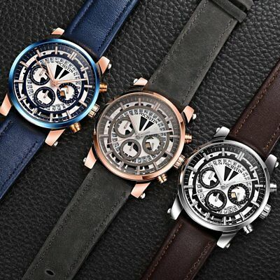 OCHSTIN 6110A Luxury Genuine Leather Quartz Men Sports Waterproof Wrist Watch T2