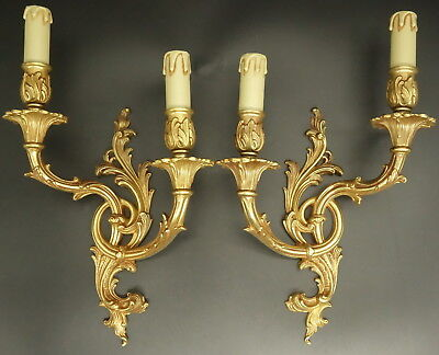 Large Pair Of Sconces Rococo Style - Bronze - French Antique