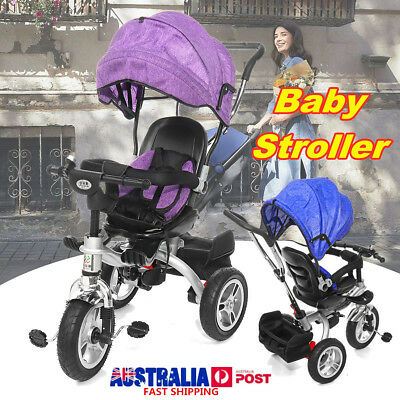 4 In 1 Baby Kids Reverse Toddler Tricycle Bike Trike Ride-On Toys Stroller Prams