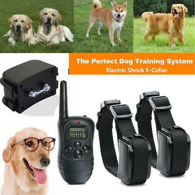 2 Dogs anti-bark LCD Electric Shock collar Waterproof Rechargeable + Remote UK