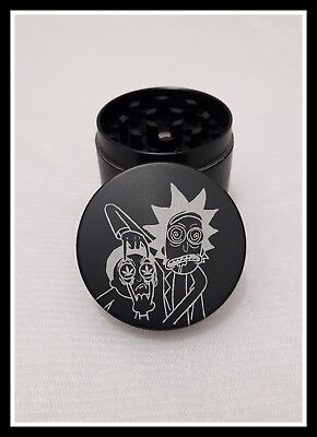 "Grinder Tritino 4 Parti Nero Zinco Tritatabacco  ""ricky And Morty Design"""