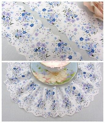 """3""""*1Y Embroidered Printed Cotton Lace Trim~White+Purple+Blue~Idyllic Melody~RARE"""