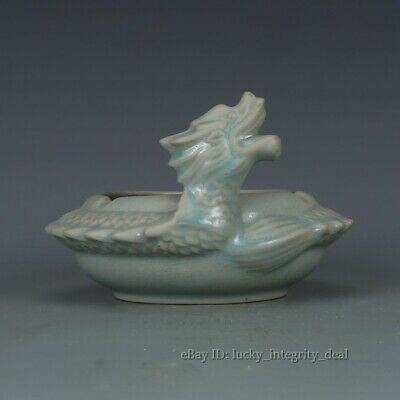 Rare Chinese Ru Ware Porcelain Hand-Carved Dragon Brush Washer