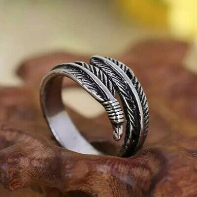Beautiful Adjustable Antique Silver Feather Ring Hypoallergenic + Gift Bag