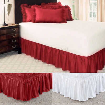 Bed Wrap Skirt Stretch Valance Dust Ruffle Queen King Single Double