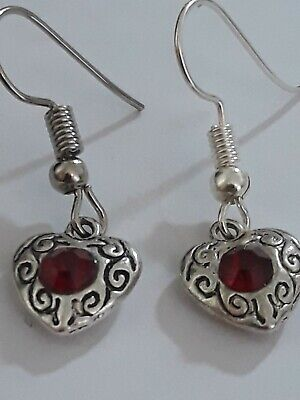 Sparkling Antique Silver Ruby Red Crystal Love Heart Earrings Hypoallergenic