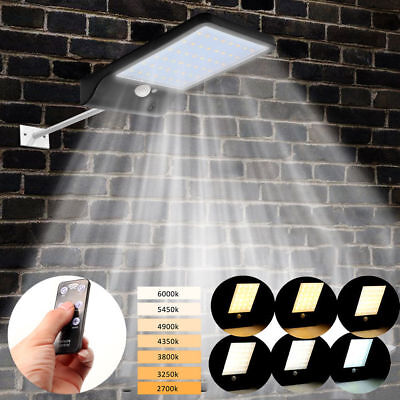 48 LED Solar Powered PIR Motion Sensor Wall Fence Security Lights Outdoor Garden