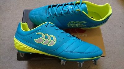 60a42c17f4cd Canterbury CCC Adult Phoenix Club 8 Stud Rugby Boot (Atomic Blue Safety  Yellow)