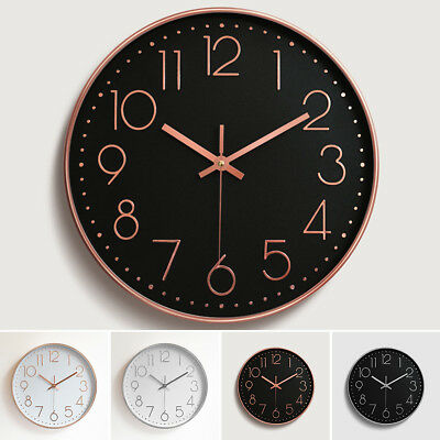 12'' Modern Gold Black White Silent Wall Clock Hanging Home Office Room Decor