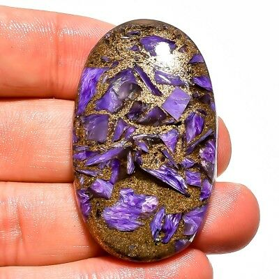 63.25 Ct. Natural Copper Charoite Oval Cabochon Loose Gemstone 45X26X6 Mm