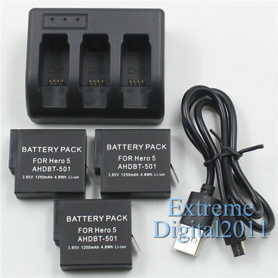 3x AHDBT-501 / AABAT-001 Battery For GoPro Hero 7 5 6 Black + 3 Channel Charger