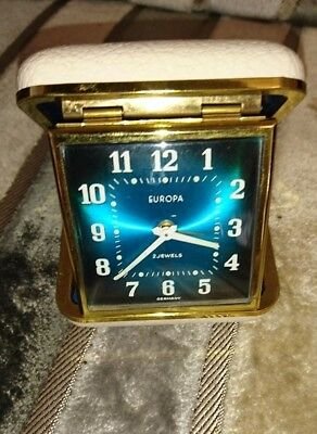 Vintage Europa 2 Jewels Travel Alarm Clock Hard Cream Case Made In Germany