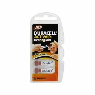 Duracell Activair Size 312 Mercury Free Hearing Aid Batteries (8 Pack)