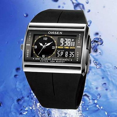 OHSEN Waterproof Digital LCD Alarm Date Mens Military  Rubber Watch T1