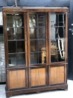 Georgian Revival Glazed Bookcase Library Bookcase Glass Display Cabinet