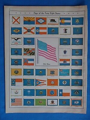 Vintage 1931 ~ Flags of the Forty Eight States ~ Original Atlas Illustration
