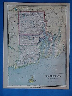 Vintage 1931 RHODE ISLAND Atlas Map ~ Old Antique Original 19