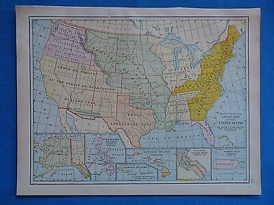 VINTAGE 1931 UNITED STATES TERRITORIAL GROWTH Map ~ Old ...